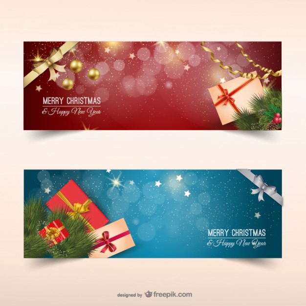 626x626 Christmas Banners With Presents Vector Free Download