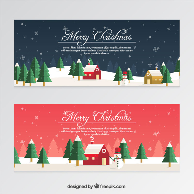 626x626 Christmas Banners With Snowmen And Snowflakes In Flat Style Vector