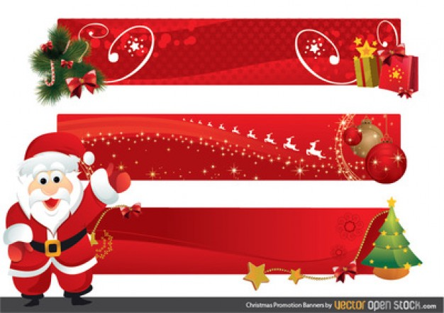 626x441 Santa Vector Character With Christmas Banners Vector Free Download