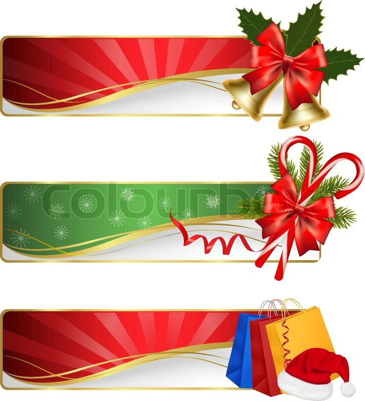 728x800 Set Of Winter Christmas Banners. Vector Illustration Stock