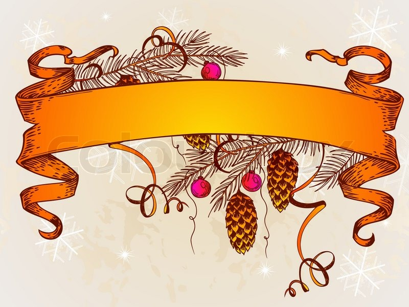 800x600 Vintage Vector Christmas Banner And Branch Of Christmas Tree