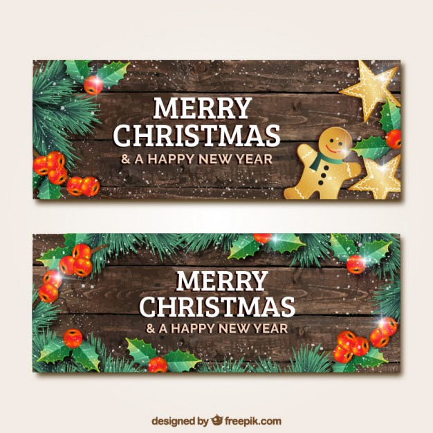 626x626 Wooden Christmas Banners Vector Free Download