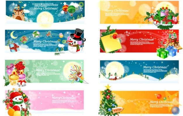 626x396 Christmas Banners Pack With Elk Tree Snowman Gift Download Free
