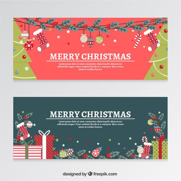 626x626 Flat Christmas Banners With Gifts And Trees Free Vector Ui