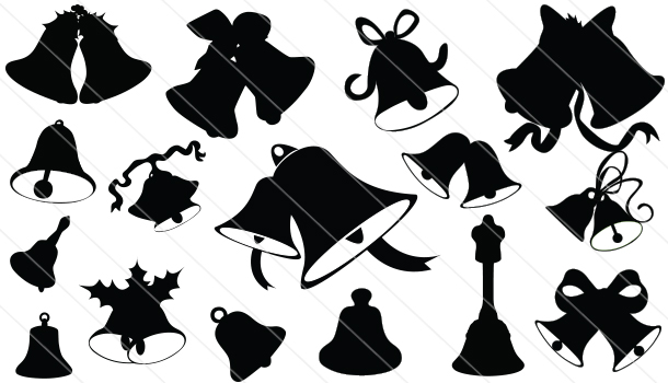 610x350 Christmas Bell Silhouette Bell Silhouette Vector Download Bell