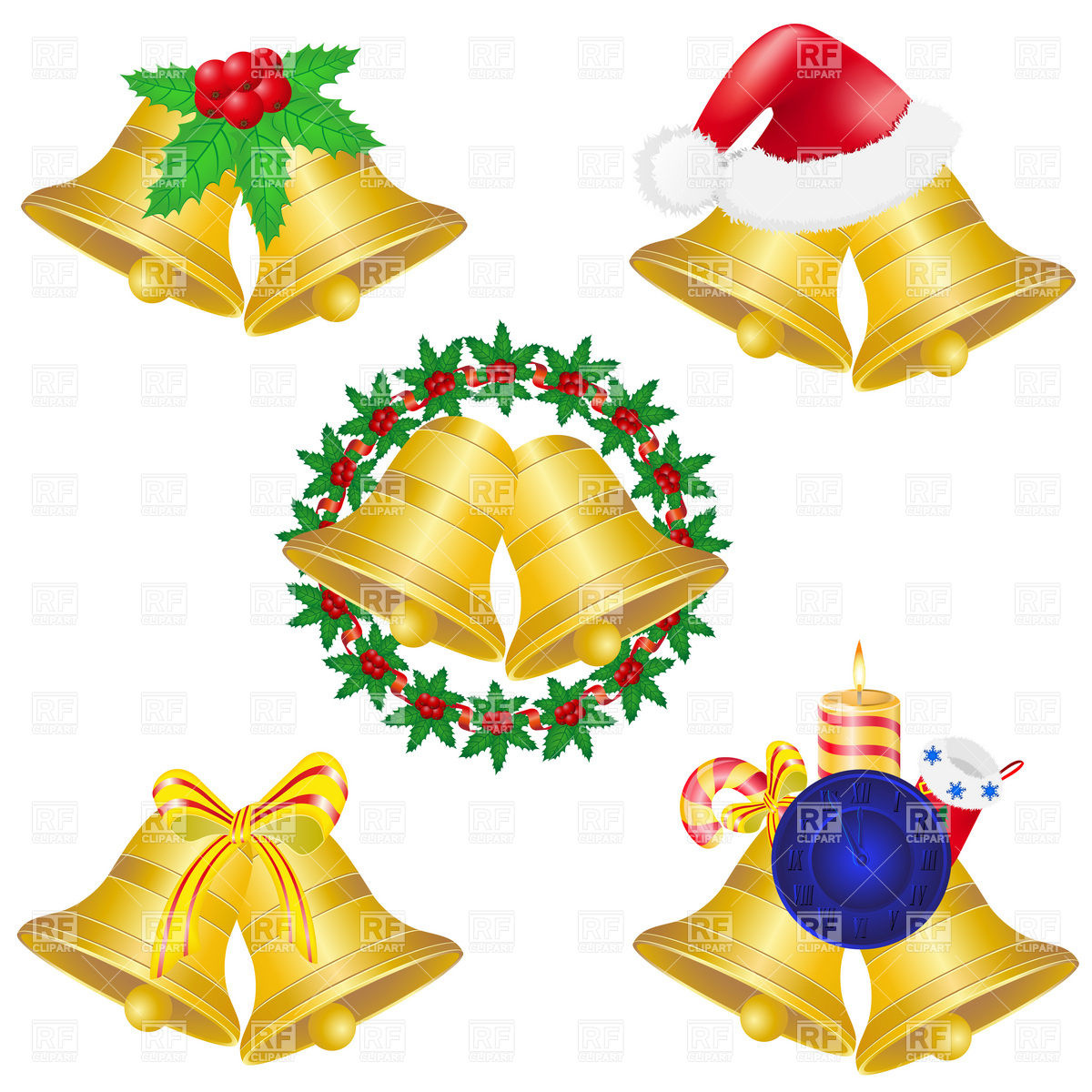 1200x1200 Christmas Bells Set Icons Vector Image Vector Artwork Of Objects