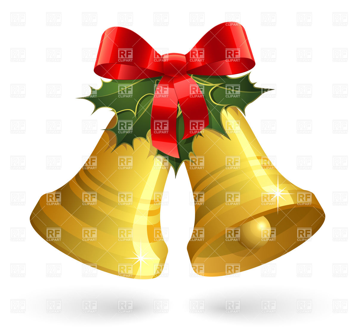 1200x1117 Christmas Bells With Red Bow And Holly Vector Image Vector