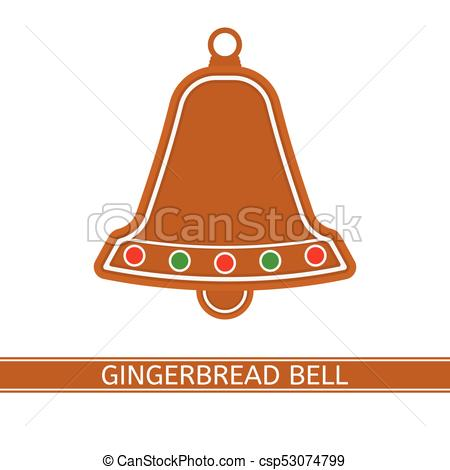 450x470 Gingerbread Christmas Bell. Vector Illustration Of Gingerbread