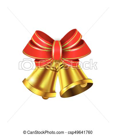405x470 Vector Gold Christmas Bells With A Bow And Stipes.