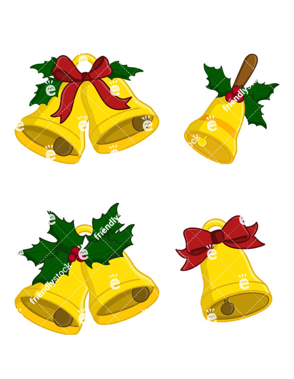 585x755 Christmas Bells Vector Clipart Collection