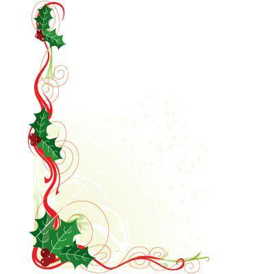 380x400 Christmas Holly Border Vector Holiday Christmas