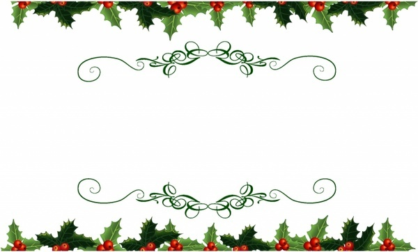 600x362 Christmas Holly Corner Border Free Vector Download (12,977 Free