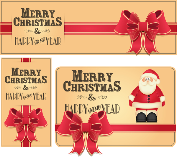 600x535 Christmas Card With Xmas Banner And Red Bow Vector Free Download