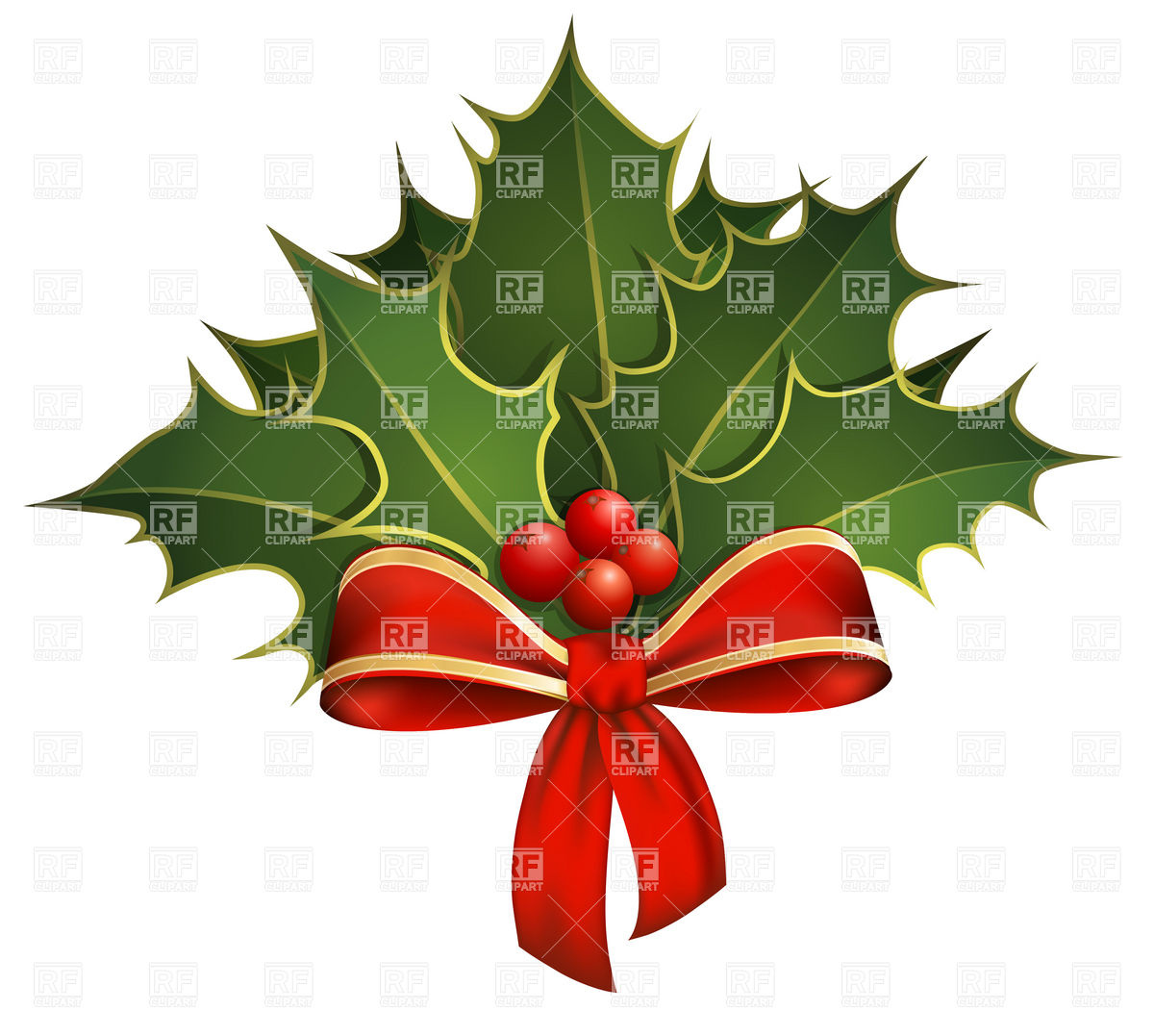 1200x1077 Christmas Decoration With Holly Branches And Bow Vector Image