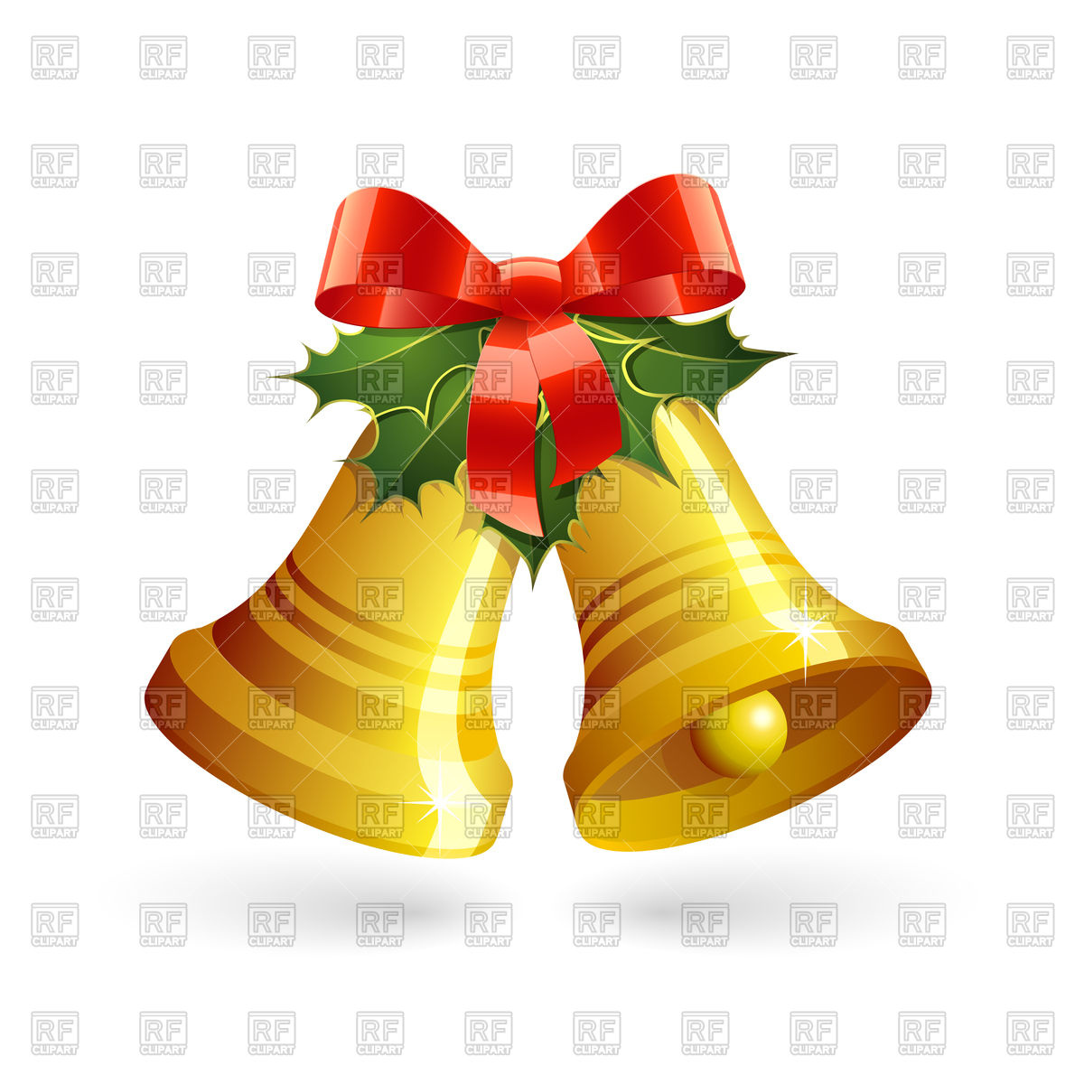 1200x1200 Christmas Golden Bells With Holly And Red Bow Vector Image