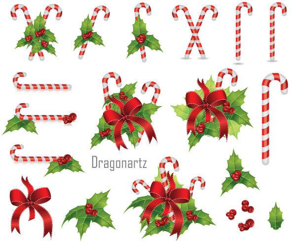 600x490 Free Christmas Candy Cane With Holly Berry And Red Bow Vector Art