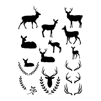 350x350 Deer Clipart, White Deer Silhouette, Black Deer Graphics