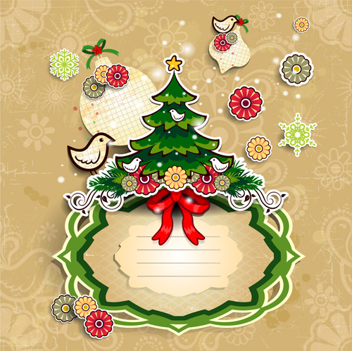 500x499 Christmas Cute Greeting Cards Design Vector 07 Free Download