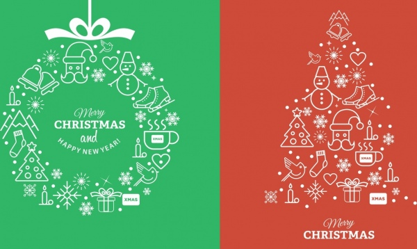 600x358 Christmas Design Elements Flat Symbols Outline Free Vector In