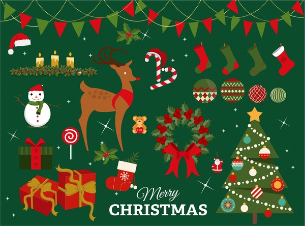 600x444 Christmas Design Elements With Colored Illustration Free Vector In