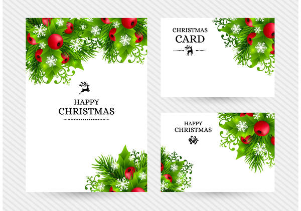 600x421 Christmas Holly Cards Design Vector 05 Free Download