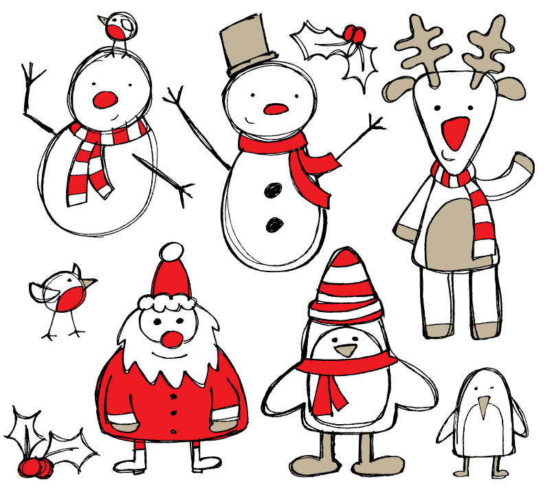 800x723 Hand Drawn Christmas Design Elements Vector Free Vector Graphic