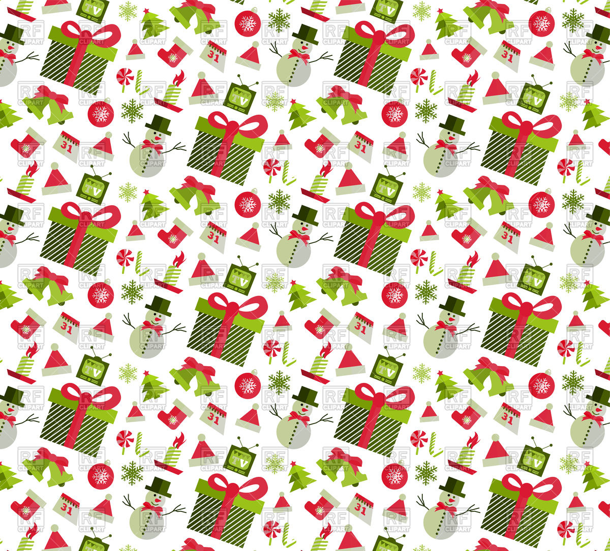 1200x1085 Seamless Pattern With Christmas Design Elements Vector Image
