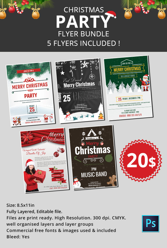585x866 Free Holiday Party Flyer Templates 60 Christmas Flyer Templates