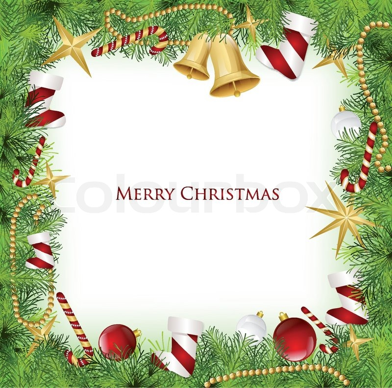 800x792 Christmas Frame With Holly Decoration. Vector Illustration Stock