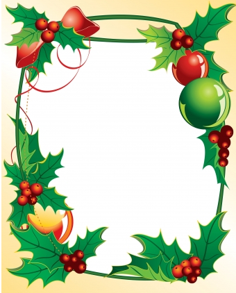 340x422 Christmas Holly Frame Vector Free Download