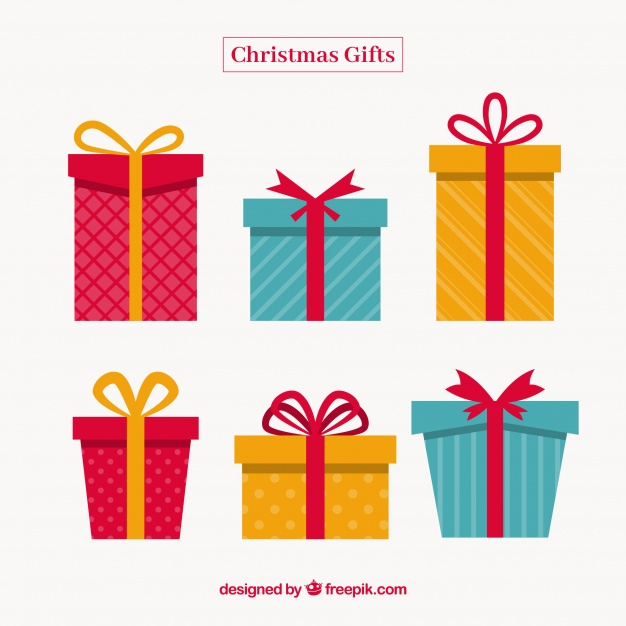 626x626 Christmas Gift Set In Flat Design Vector Free Download