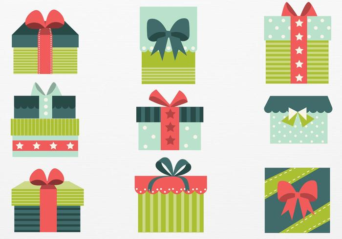 700x490 Retro Christmas Gift Vector Pack