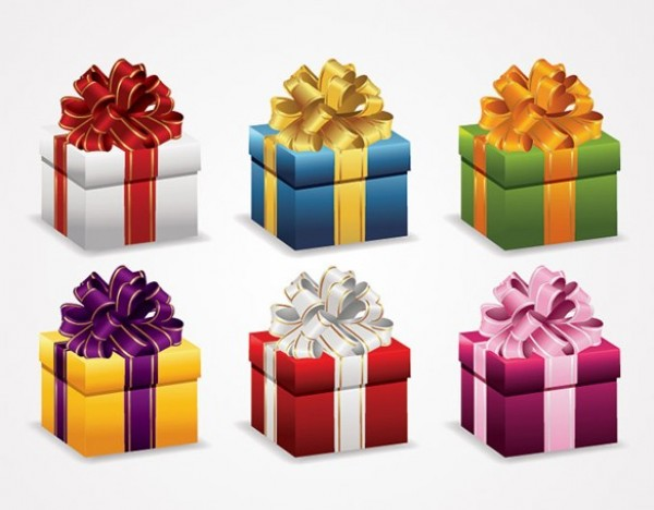 600x468 6 Christmas Gift Wrapped Boxes Vector Set