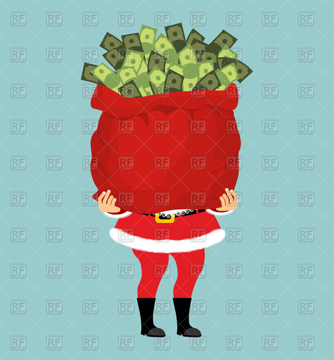 1114x1200 Santa And Big Bag Of Money, Christmas Gift Vector Image Vector