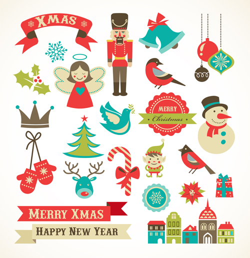 500x516 Cute Xmas Icons Mix Vector Graphics 02 Free Download
