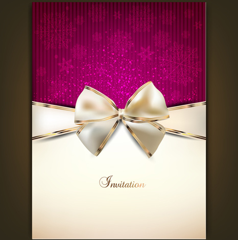 466x470 Christmas Invitation Cards With Bow Vector Free Vector In