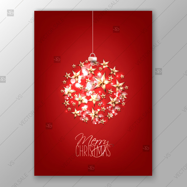 600x600 Christmas Invitation With Balls