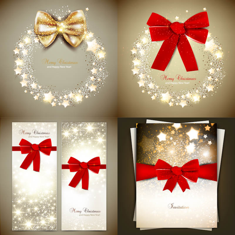 800x800 Christmas Invitations With Red Bow Vector Vector Graphics Blog