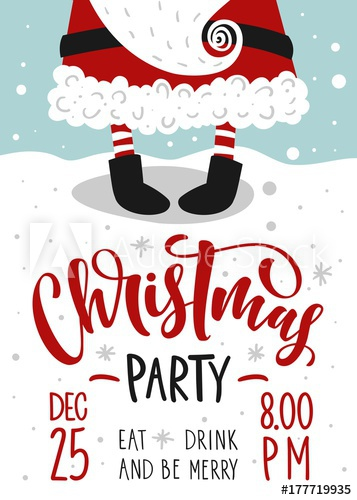 357x500 Christmas Party Invitation. Vector Template With Calligraphy And