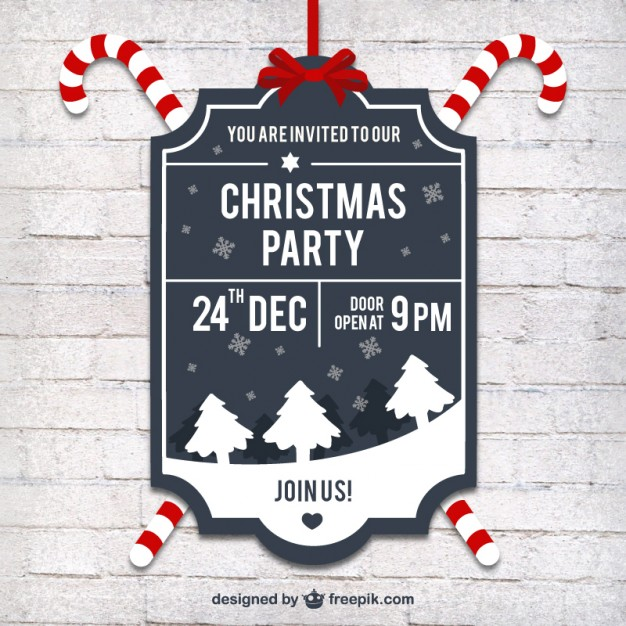 626x626 Christmas Party Label In Retro Style Vector Free Download