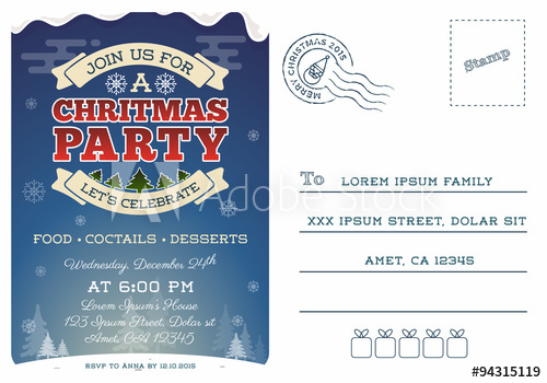 500x350 Christmas Party Postcard Invitation Template Design. Cute