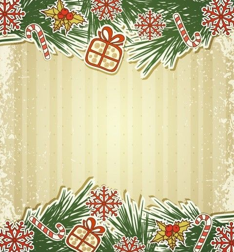 480x517 Free Vintage Merry Christmas Invitation Card Ornaments Vector 02