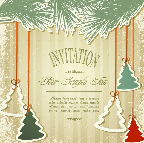 482x478 Free Vintage Merry Christmas Invitation Card Ornaments Vector 03