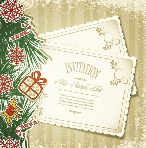 483x488 Free Vintage Merry Christmas Invitation Card Ornaments Vector 05