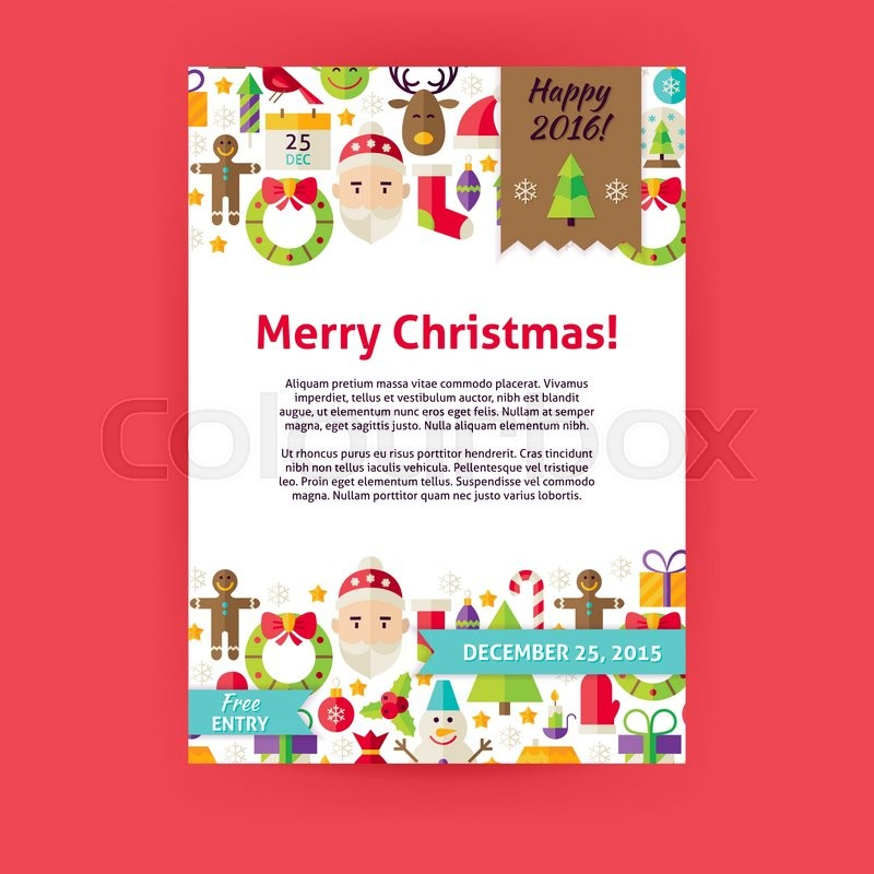 800x800 Merry Christmas Invitation Template Flyer. Flat Design Vector