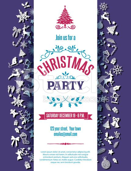 429x556 Purple Christmas Party Invitation Template. The Text Is Centered