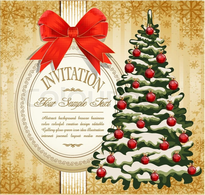 800x761 Vector Festive Invitation To The Christmas Tree And Red Bow