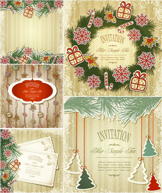 669x800 Vintage Christmas Invitation Cards Vector Free Vector Graphic