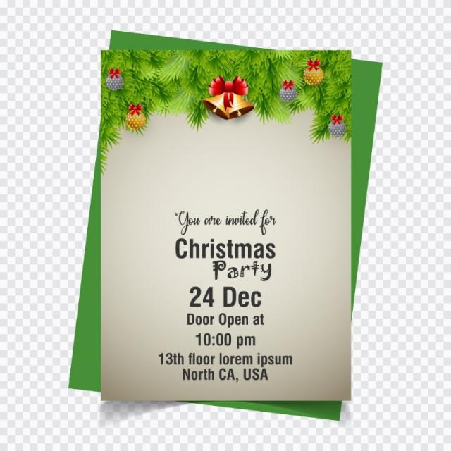 640x640 Christmas Invitation On Green Vector Template For Free Download On