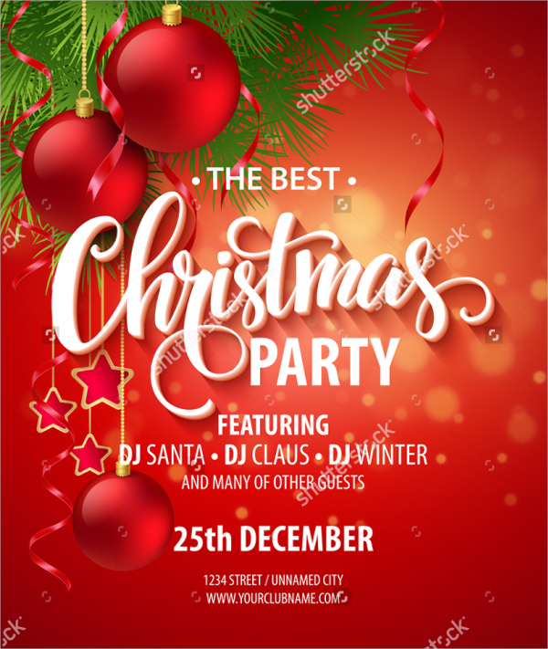 600x711 Christmas Party Invitation Templates